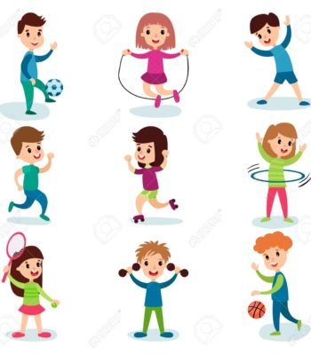 Smiling little kids characters doing different sports and playing sportive games, kids physical activity cartoon vector Illustrations isolated on a white background