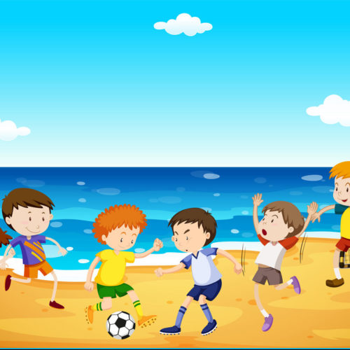 Boys playing soccer on the beach illustration